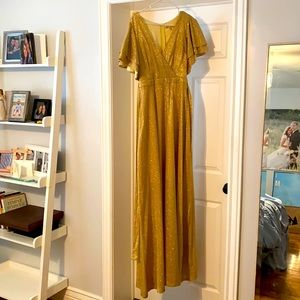 Ricarica size small gold maxi dress with flutter sleeves—brand new with tags